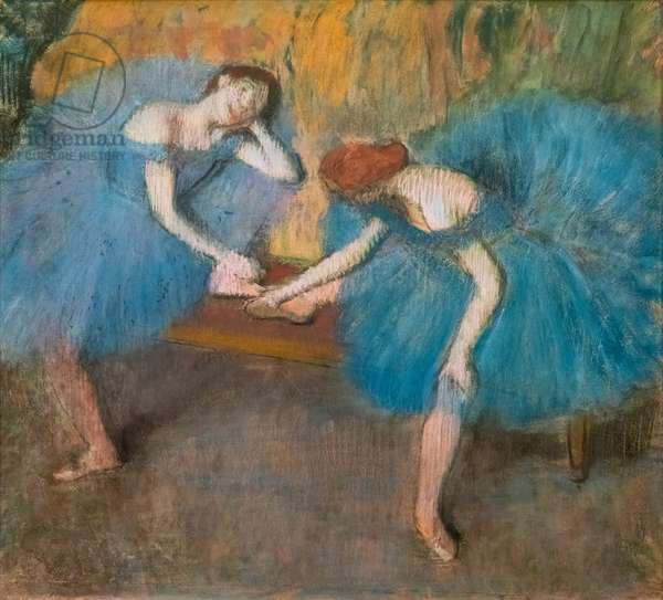 "Two resting dancers (also known as ""Blue dancers""). Around 1898. Pastel on fine velin paper."
