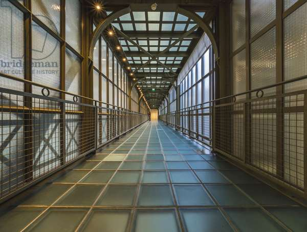 The Orsay Museum. Paris. France - The glass and steel bridge, located at the back of the inner clock, overlooking the central allee - Musee d'Orsay, Paris - Photography 2017