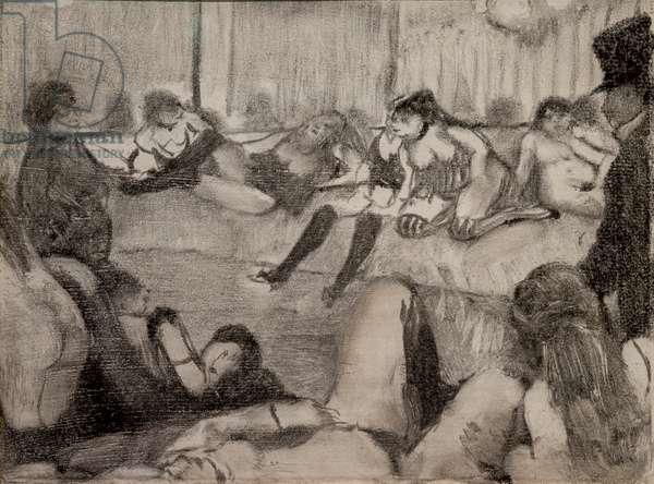 The Salon. 1879. Monotype has black ink, pastel enhances.
