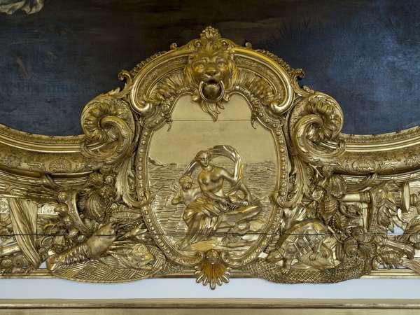 Amphitrite. Bas relief of the Galerie doree, decor by Francois Antoine Vasse (1681-1736), 1715. Banque de France. Hotel de Toulouse, Paris - Hotel de Toulouse, headquarters of the Banque de France -
