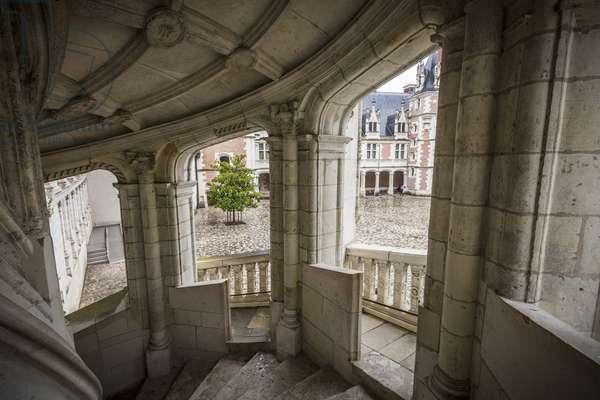 View of the monumental staircase of the Chateau de Blois Loir-et-Cher