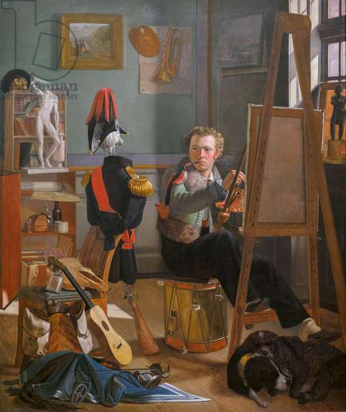 A Battle Painter (Jergen Sonne) in his Studio, c. 1826 (oil on canvas)