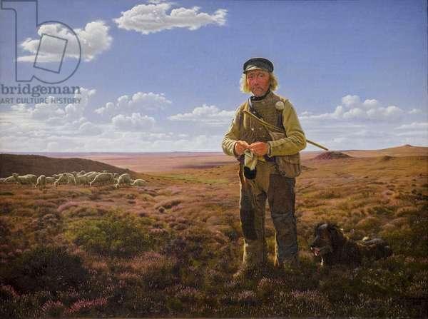 A Jutland Shepherd on the Moors (oil on canvas)