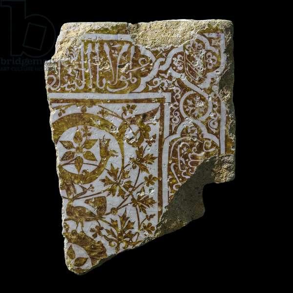 Wall coating tile. Spain, Grenada, 1408-1417. Ceramic, decor of metallic chandelier. Louvre Museum