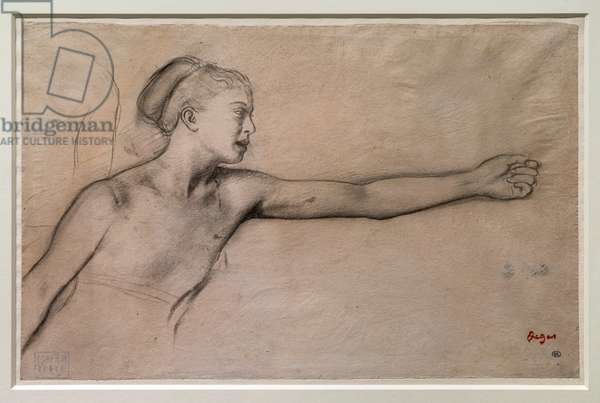 """Young Spartan girl (study for """"Little Spartan girls provoking boys""""). Around 1860-1862. Black pencil, graphite, blends on tracing paper."""