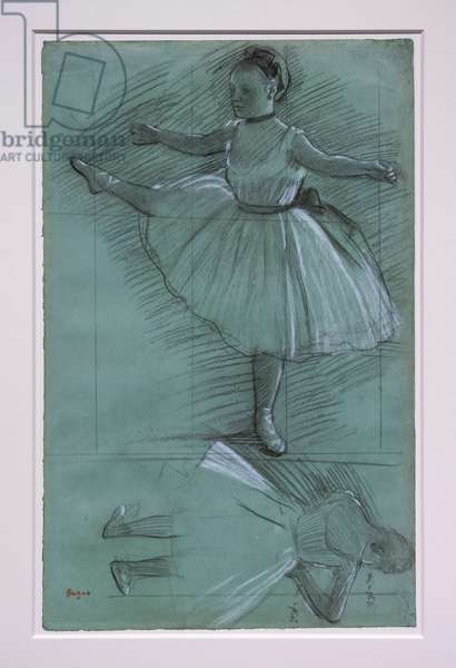 Two dancer studies. Around 1873. Black stone with white chalk on green paper. Los Angeles, The J. Paul Getty Museum.