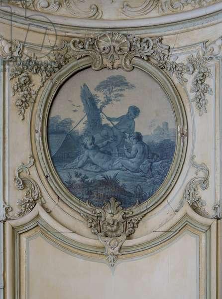Hunting. Painting in blue camaieu by Francois Boucher (1703-1770). Cabinet du prince bibliotheque, Hotel de Soubise, Paris, 18th century