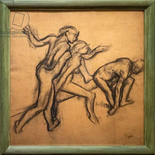 Three naked dancers. 1895-1900. Charcoal on tracing paper.