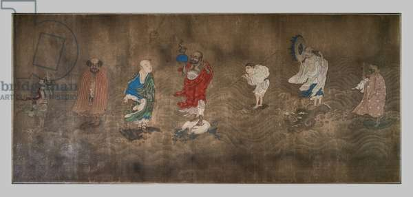 Eighteen arhat crossing the sea. China, Ming Dynasty, 15th. Horizontal roll, ink and colours on silk.