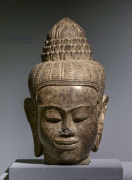 Bust of Buddha. Cambodia. Post-Angkorian Khmer Art, 15th-16th century. Gres.