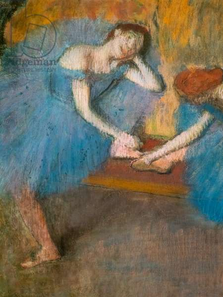 "Two resting dancers (also known as ""Blue dancers"") (detail). Around 1898. Pastel on fine velin paper."