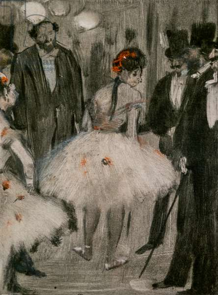 Virginia being admired in front of the Marquis Cavalcanti. Around 1876-1877. Pastel on monotype has black ink, pastel highlights.