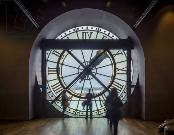 The Orsay Museum. Paris. France - View of the exterior clock on level 5, overlooking the Louvre - Musee d'Orsay, Paris - Photography 2017