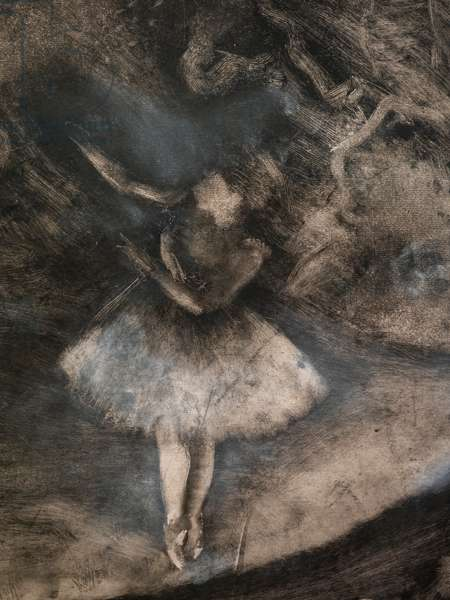 The Master of Ballet (detail) (executed in collaboration with Ludovic Lepic). 1876. Monotype in black ink with white chalk highlights