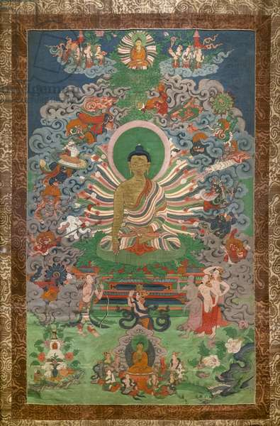 Mara's assaults. East Tibet, second half of the 19th century. Xylography painted on canvas.