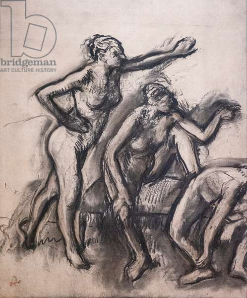 Three naked dancers. Around 1903. Charcoal on tracing paper.