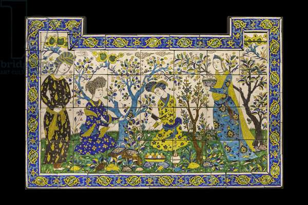 Sign has poetic joust. Iran, Isfahan, mid-17th century. Ceramic, decor of black lines. Louvre Museum
