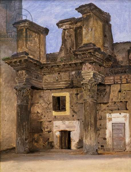 The Temple of Minerva on the Forum of Nerva in Rome, c.1840 (oil on paper mounted on canvas)