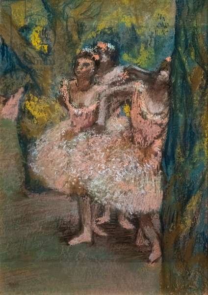 Three dancers in salmon skirts. 1904-1906. Pastel on maroufle paper on cardboard.