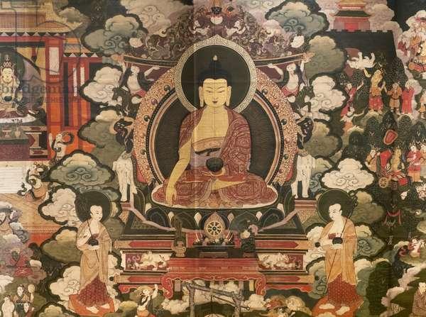 Scenes of the life of the Buddha Shakyamuni (detail). First half of the 17th century (?). Detrempe on canvas.