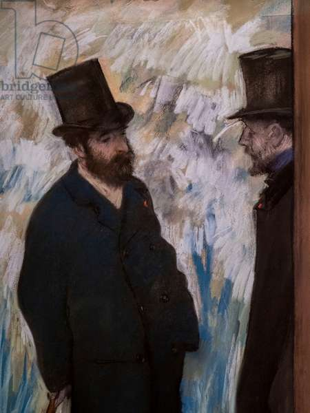 """Portrait of friends, on the scene (detail) (also known as """"Portrait of Ludovic Halevy and Albert Boulanger-Cave""""). 1879. Pastel on paper."""