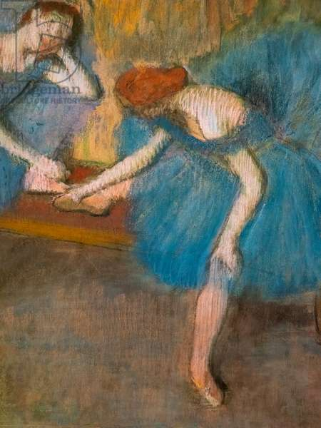 """Two resting dancers (also known as """"Blue dancers"""") (detail). Around 1898. Pastel on fine velin paper."""