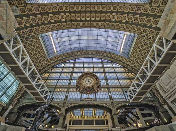 the Orsay Museum. Paris. France - The clock (1900) of the old station on the steel and glass structure of the main hall - Musee d'Orsay, Paris - Photography 2017
