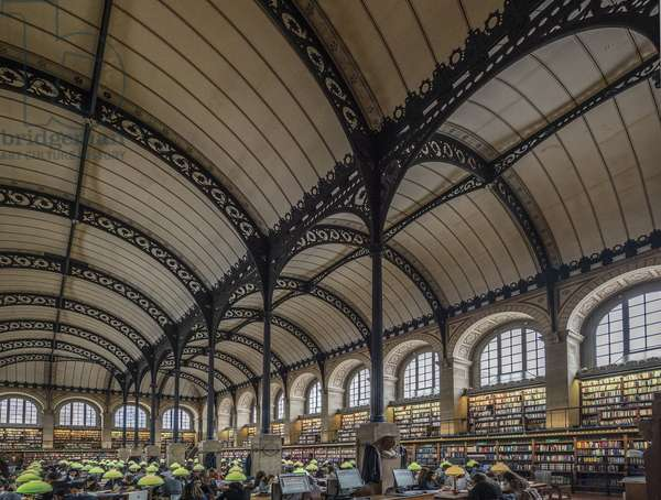 Reading room. Bibliotheque Saint Genevieve, Paris, architect Henri Labrouste (1801-1875), 1843-1850