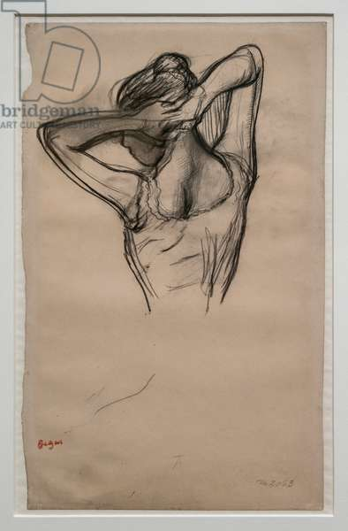 Dancer, half-body, arms crossed behind her head. Around 1880. Pencil on paper.
