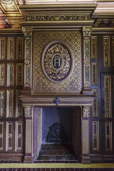 Cheminee - Apartments of King Henry III (1551-1589) Chateau de Blois Loir-et-Cher
