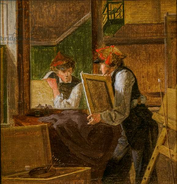 Draft for A Young Artist [Ditlev Blunck] examining a Sketch in a Mirror, 1826  (oil on canvas)