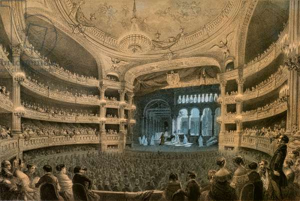 """The Imperiale Academy of Music, theatre of the Opera, during a performance of """"Robert le Diable"""" (1831). Lithography in colour."""