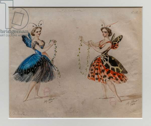 The Source. Ballet by Ludwig Minkus and Leo Delibes. Model of costume.1866. Pencil and watercolor on paper.