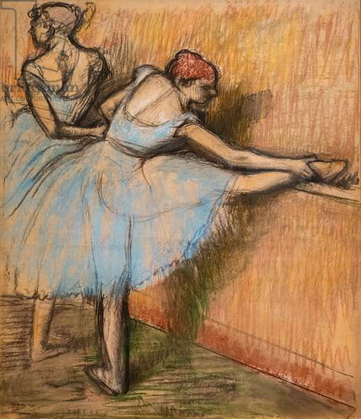 Dancers at the helm. Around 1900. Charcoal and pastel on tracing paper glue in full on cardboard.