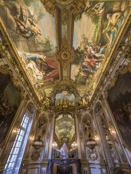 Allegory of Fire and Earth on the vault. Painting of the vault of the Galerie doree, by Francois Perrier (1594-1649), 1645. Banque de France. Hotel de Toulouse, former hotel de la Villiere, Paris - Hotel de Toulouse, headquarters of the Banque de France -