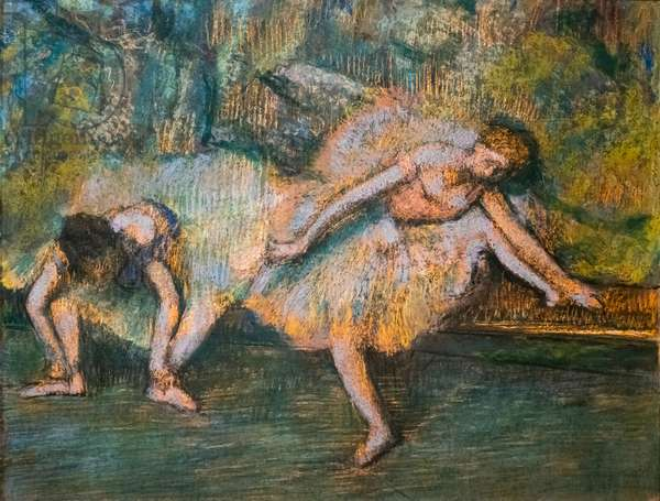 Two dancers. Around 1900. Pastel on paper on cardboard.