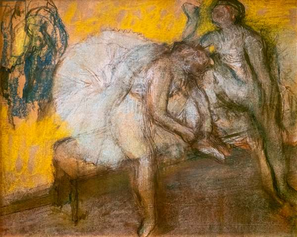 Two dancers at rest. Around 1910. Pastel on fine velin paper.