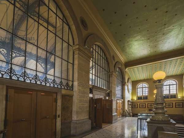 Side corridor. Bibliotheque Saint Genevieve, Paris, architect Henri Labrouste (1801-1875), 1843-1850