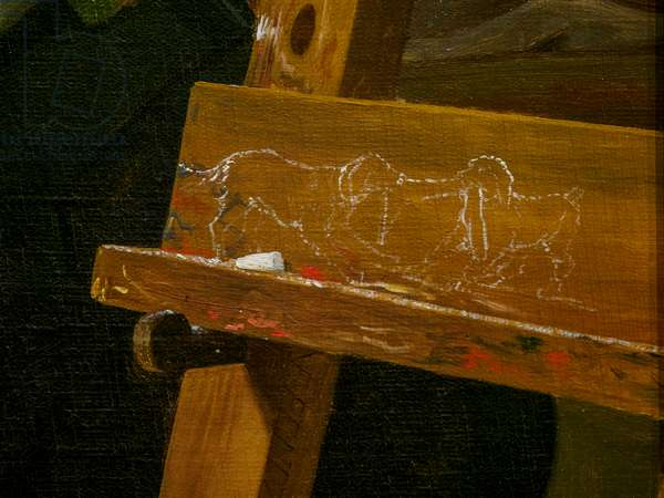 A Young Artist (Ditlev Blunck) examining a Sketch in a Mirror, detail, 1826  (oil on canvas)