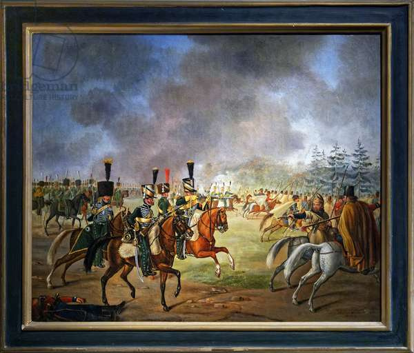 Fight of the 5th regiment of hunters on horseback (oil on canvas)