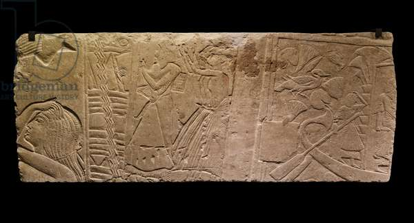 Egyptian antiquite: limestone relief representing a burial scene, 1300 BC Paris musee du Louvre