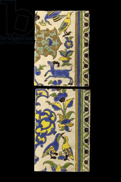 Two tiles with animal decor. Iran, Esfahan (?) , 17th century. Ceramic, decor of black lines. Louvre Museum