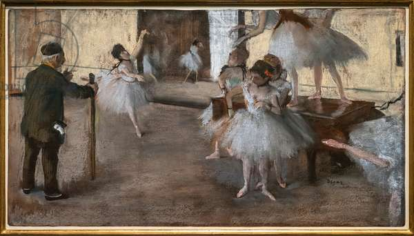 The dance lecon. Around 1876. Pastel on paper glues on cardboard.