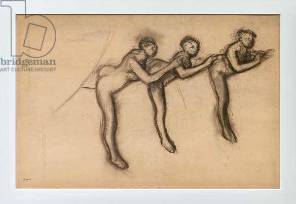 Three naked dancers in arabesque. Around 1892-1895. Charcoal on paper glues on cardboard.