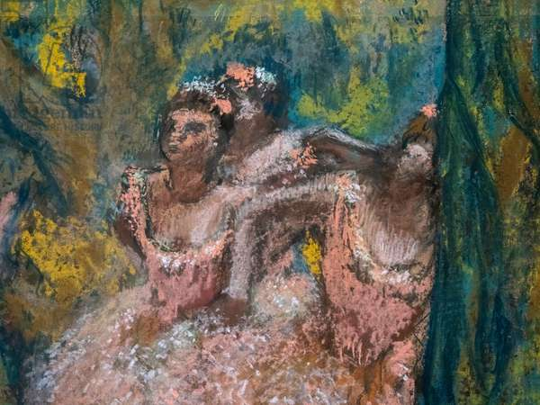 Three dancers in salmon skirts (detail). 1904-1906. Pastel on maroufle paper on cardboard.