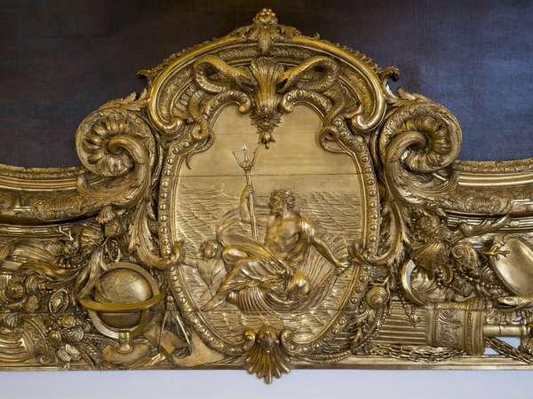 Neptune weapon of his trident. Bas relief by Francois Antoine Vasse (1681-1736), 1715, Galerie Doree, Banque de France. Hotel de Toulouse, former hotel de la Villiere, Paris - Hotel de Toulouse, headquarters of the Banque de France -