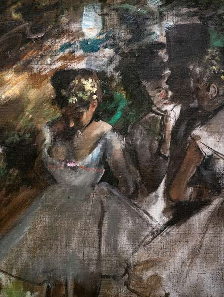 Three dancers behind the scenes (detail). 1880-1885. Oil on canvas.