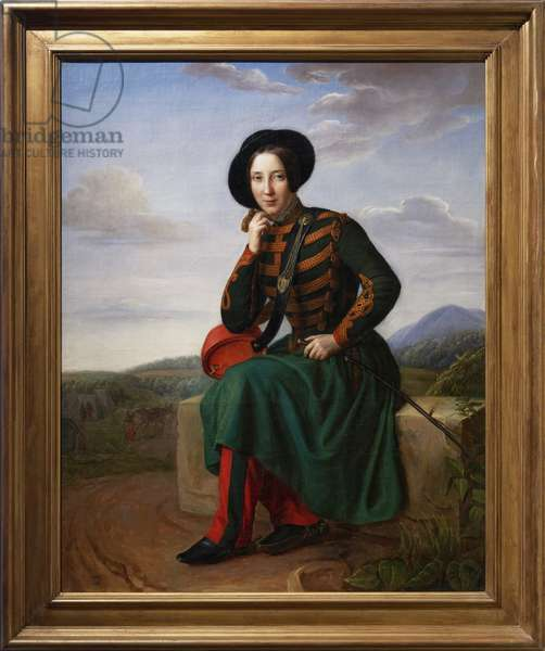 Mrs. Bru, cantiniere at the 7th Hussard Regiment, 1837 (oil on canvas)