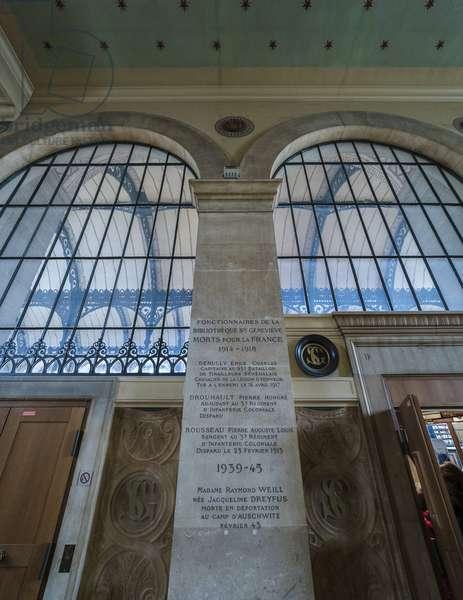 Commemorative text and glass of the corridor. Bibliotheque Saint Genevieve, Paris, architect Henri Labrouste (1801-1875), 1843-1850
