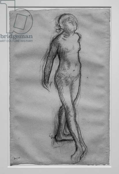 """Study of naked dancer (study for """"Little dancer of fourteen years""""). Around 1878-1879. Charcoal and black pencil on paper."""